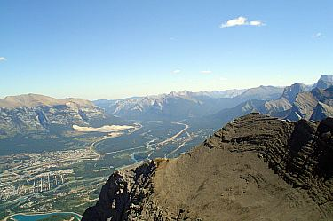 View of Canmore from East End of Rundle Mountain