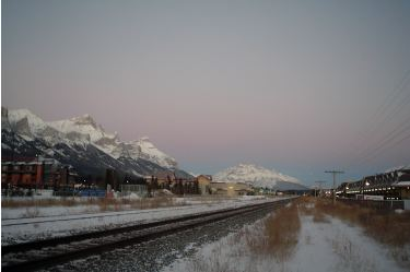Rundle Mountain (left). Canmore, Alberta