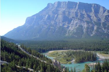 The Hoodoos (Mt. Rundle in background). Banff National Park.
