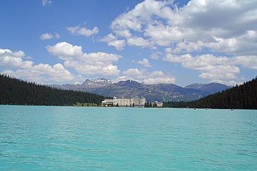 View from canoe on Lake Louise. Banff National Park.