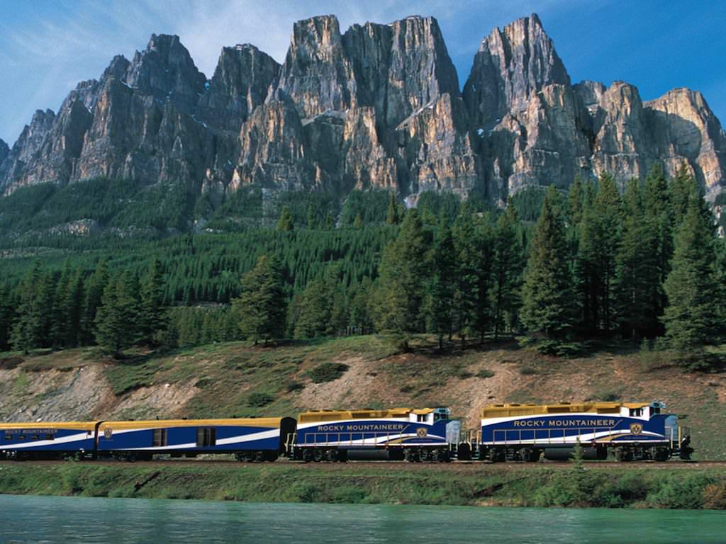 Rocky Mountaineer Train passing Castle Mountain