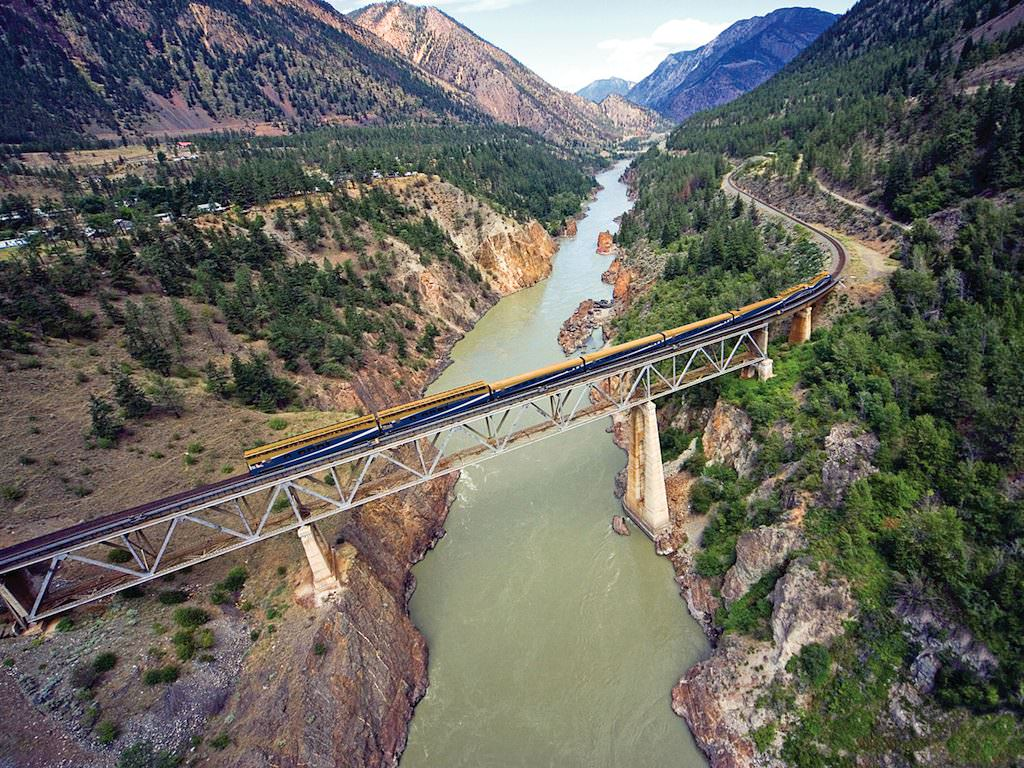 Rocky Mountaineer Train crossing Fraser River