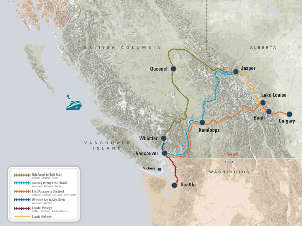 Rocky Mountaineer Rail Routes